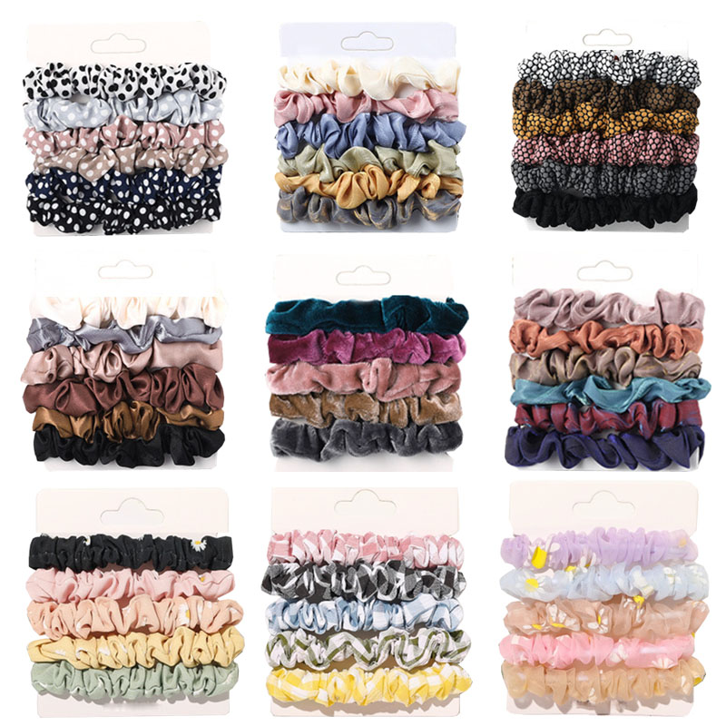 6/5 Pcs/set Woman Scrunchies Sets Velvet Hair Ties Girls Ponytail Holders Rubber Band Dot Leopard Hairband Hair Accessories Gift