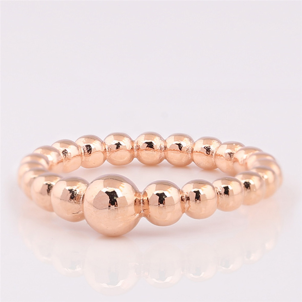 Free Shipping Real 925 Sterling Silver Ring Rose Gold String Of Beads Rings For Women Wedding Party Gift Fashion Europe Jewelry