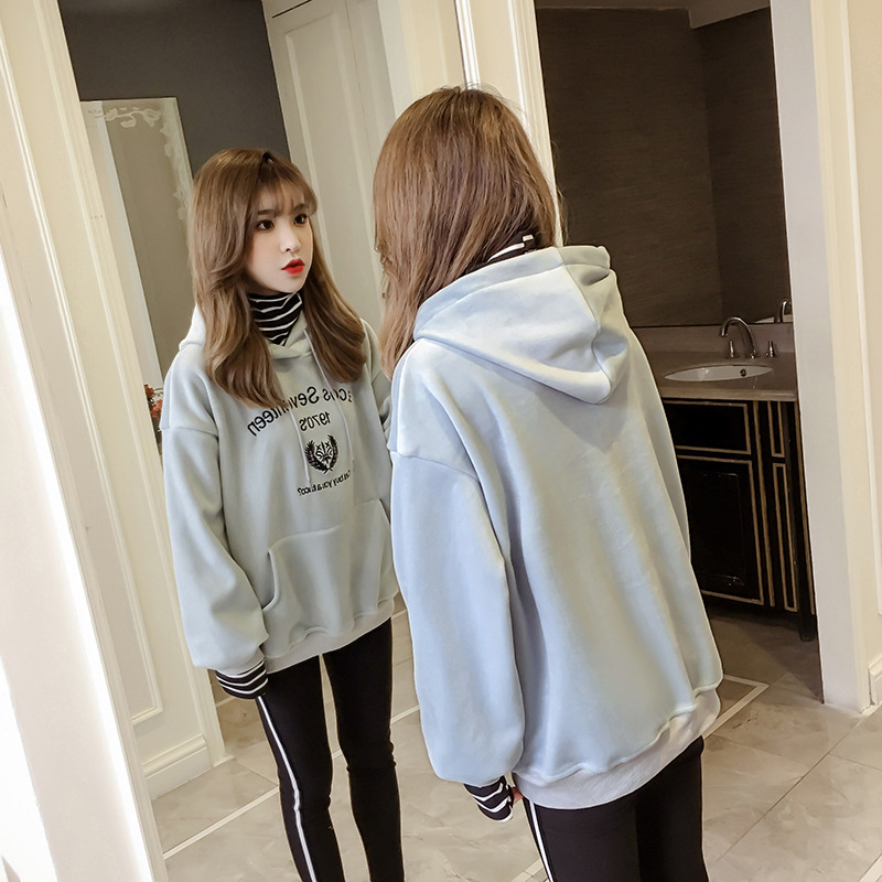 [Photo Shoot Double-sided Plush 500g] 702 Winter Retro High Collar Gold Velvet Hoodie Women's Thick Plus Velvet