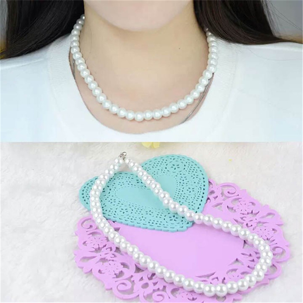 1pc freshwater White South Sea Shell pearl necklace stones Round Beads Flower Clasp for women 8MM pearl jewelry
