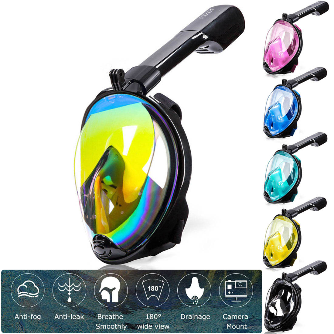 2020New Diving Mask Scuba Mask Underwater Anti Fog Full Face Snorkeling Mask Women Men Kids  Swimming Snorkel Diving Equipment