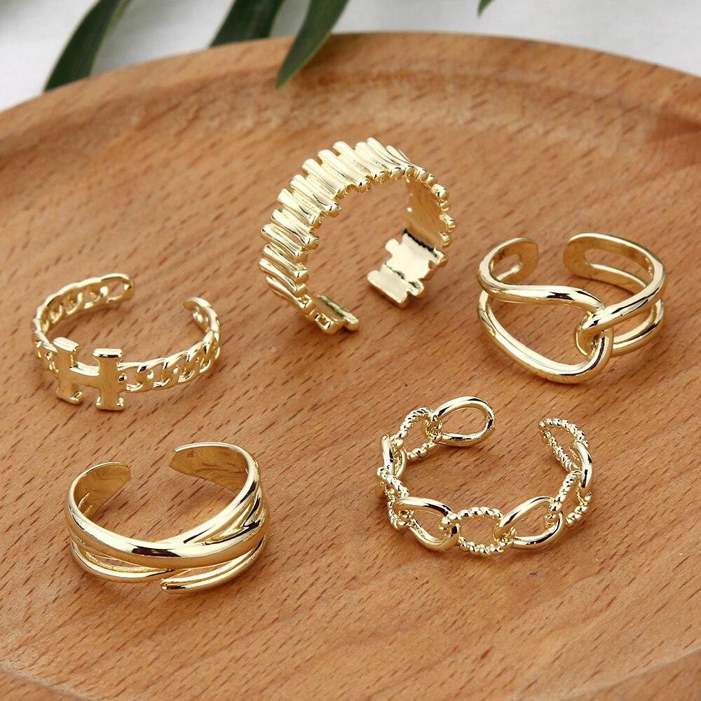Корейские золотистые круглые полые геометрические кольца для женщин и девушек, модные открытые Регулируемые кольца с перекрестным узором, ...