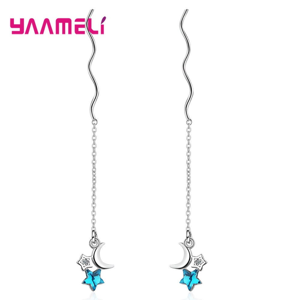 2020 New Year Hot Sale 925 Sterling Silver Luxury Blue Crystal Star Moon Tassel Long Drop Earrings For Women Girl Party Jewelry