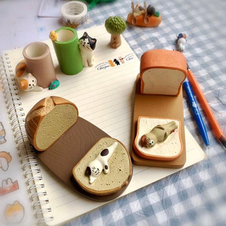 Japan cute kawaii cartoon Maneki Neko calico toast bread puffs booking cat phone stand tablet holder figures desktop decoration