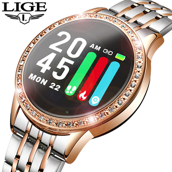 LIGE nouvelle montre intelligente femmes tension artérielle moniteur de fréquence cardiaque bande intelligente Fitness tracker Sport montre Smartwatch Reloj inteligente