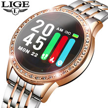 LIGE nouvelle montre intelligente femmes tension artérielle moniteur de fréquence cardiaque bande intelligente Fitness tracker Sport montre Smartwatch Reloj inteligente(China)