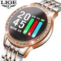 Lige novo relógio inteligente mulher pressão arterial monitor de freqüência cardíaca banda inteligente fitness rastreador esporte relógio smartwatch reloj inteligente