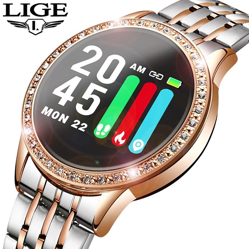 Nuevo Reloj inteligente LIGE para mujer, Monitor de ritmo cardíaco, banda inteligente, rastreador de Fitness, Reloj deportivo, Reloj inteligente, Reloj inteligente Reloj inteligente I5 para mujeres/hombres Monitor de ritmo cardíaco Seguimiento de la presión arterial Bluetooth reloj inteligente para mujeres para Apple Watch Andriod