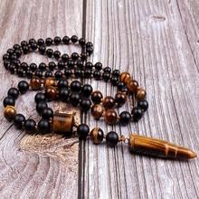 Natural Stone Bead & Tiger Eye Bullet Pendant Tribal Necklace For Men
