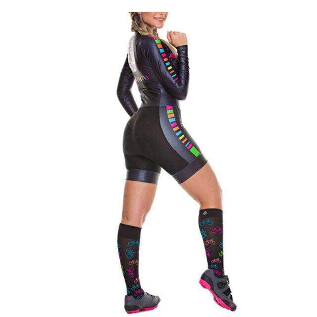 Das mulheres longas calças Ciclismo Skinsuit Maillot Ropa ciclismo Triathlon curto de Manga comprida Casal Bicicleta Jersey define Macacão 2