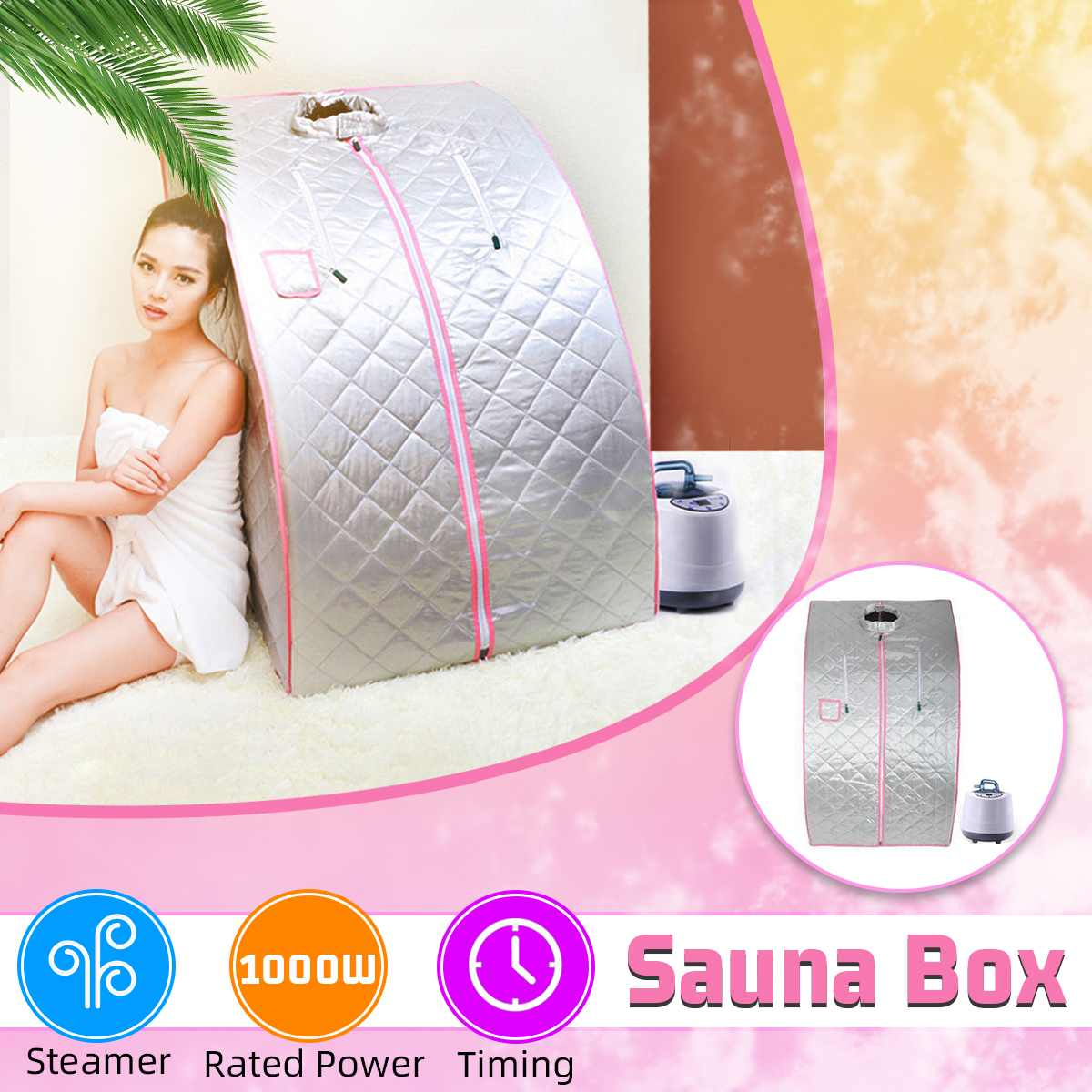 Portable Steam Sauna Home Sauna Generator Slimming Household Sauna Box Ease Insomnia Stainless Steel Pipe Support STEAMER 1000W