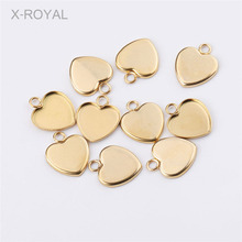 X-ROYAL 20Pcs/lot 13*13mm 13*14mm Gold Color Heart Shape Blank Base DIY Jewelry Making Findings Stainless Steel Earring Settings