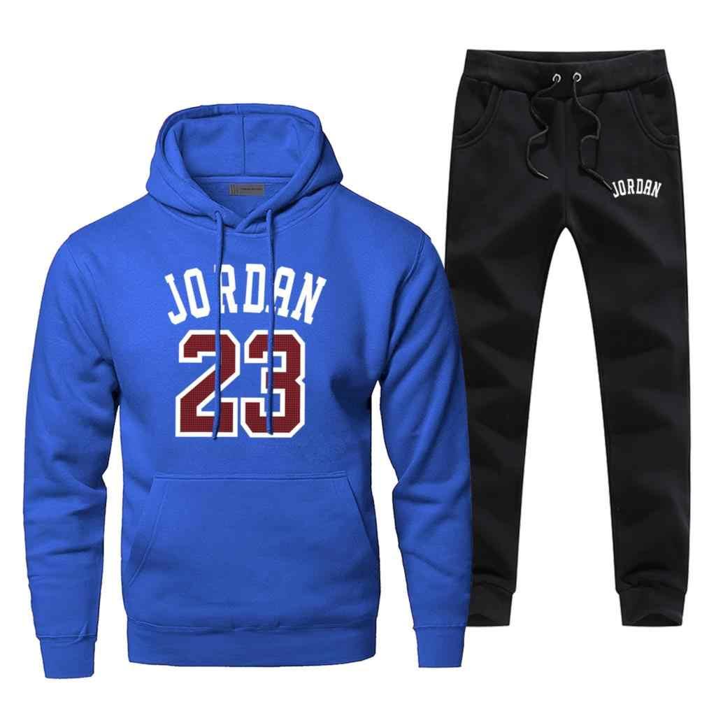 Sudaderas deportivas Jordan 23 para baloncesto, conjunto de pantalones para hombre, conjunto de chándal de 2 piezas, conjunto de Jersey y pantalón de chándal, conjunto deportivo de otoño