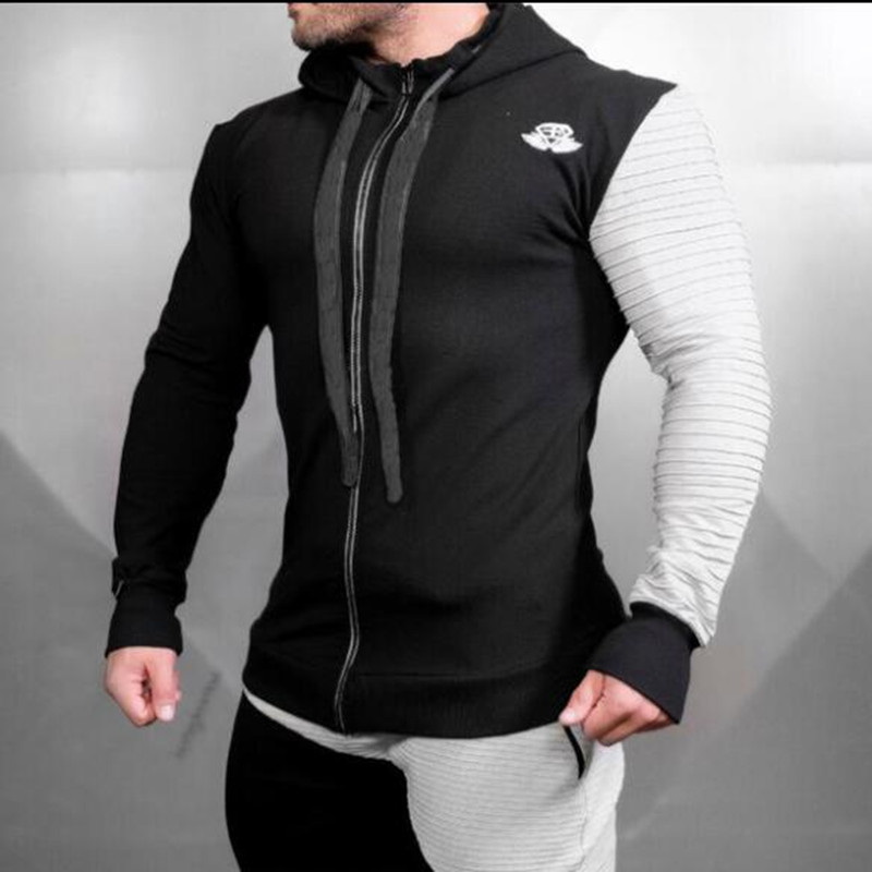 New Mens Winter Musclebuilding Sports Sweaters Fitness Gym Tight Hoodies Running Trainning Jacket