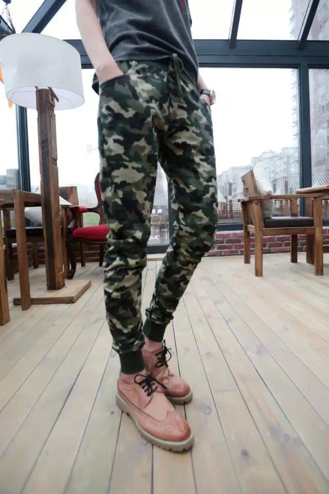 2016 Spring And Summer Camouflage Athletic Pants Summer Korean-style Sweatpants Pencil Pants Slim Women's MEN'S Casual Pants Fas