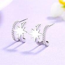 Double Layers Stars 925 Sterling Silver Earring Rhinestone Ear Stud Little Tiny Bling Zirconia Stones Earrings For Women