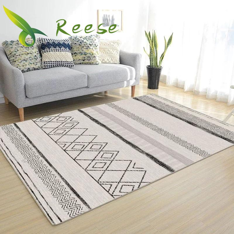 Carpet Rug For Living Room Modern Simple Geometric Wood Floor Rug Non-slip Antifouling Carpet For Bedroom Parlor Factory Supply