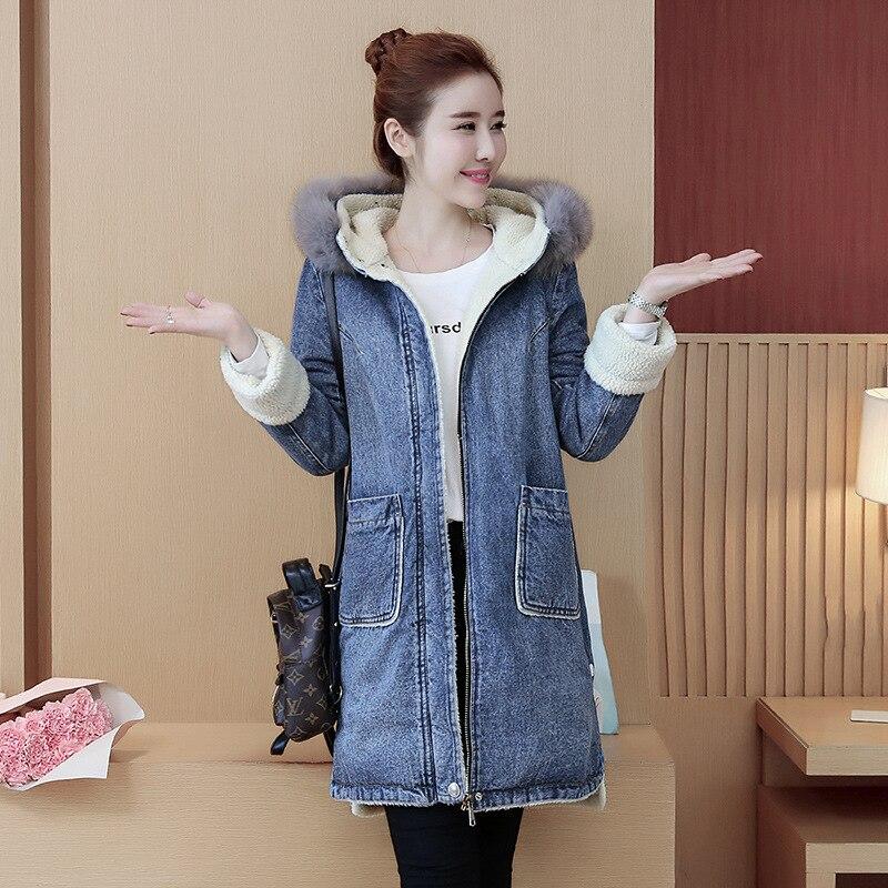 019 Winter New Style WOMEN'S Dress Mid-length Large Fur Collar Cowboy Cotton-padded Clothes Plus Velvet Berber Fleece Cotton Coa