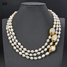 Ювелирные изделия GuaiGuai, ожерелье из искусственного барочного жемчуга 20 дюймов, 3 нити, позолоченный соединитель Keshi Pearl