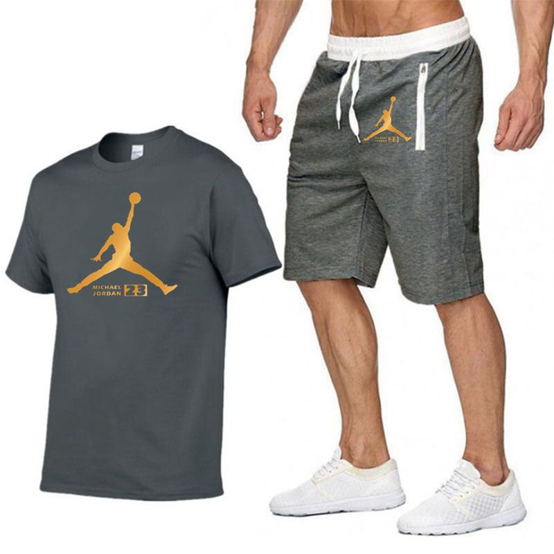 Men's New Jordan Short-sleeved T-shirt Short Pants Men Fashion Print Fun T-shirt 2019 Summer Casual T-shirt Shorts Suit