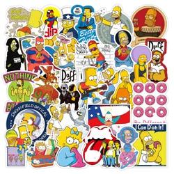 50pcs Funny Anime Cartoon Simpsons Graffiti Stickers Skateboard Guitar Suitcase Bike Laptop Waterproof Sticker Kid Classic Toys