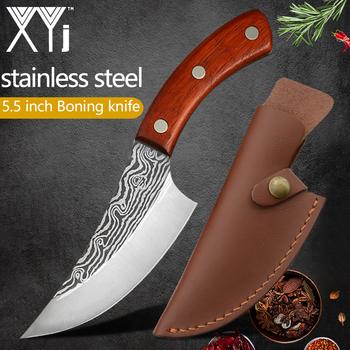 XYj 5 5 #8221 Cleaver nóż do trybowania płaszcza platerowane stali Chef serbski noże Damascus wzór noże myśliwskie Full Tang Butcher noże tanie i dobre opinie CN (pochodzenie) STAINLESS STEEL Dwuczęściowy zestaw Ce ue Lfgb Zestawy noży Ekologiczne 5 5 inch Butcher Slaughter Chopping Knife
