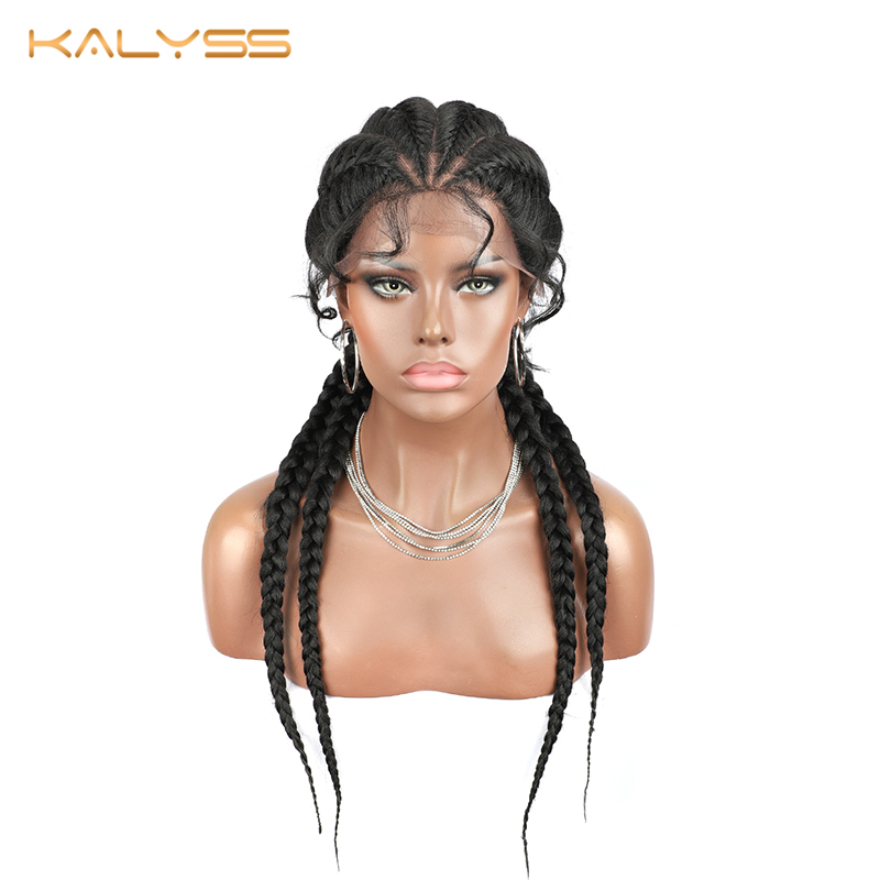 Kalyss 26 Inches Braided Wigs Synthetic Lace Front Wig For Black Women Box Braid Wig Afro American Women's Wigs  Faux Locs Wig