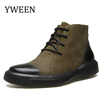 YWEEN High Quality Men Leather Shoes Male Autumn Ankle Botas Hombre Men Lace-Up Chelsea Boots Fashion Man Boots mycolen new brand high quality spring autumn shoes men super warm leather boots fashion high top man ankle boots askeri bot