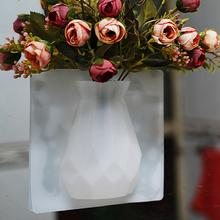Fashion Geometry Silicone Flower Vase DIY Sticky Adsorbed on Refrigerator and Glass Hanging Magic Wall