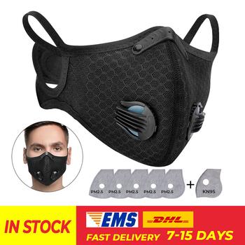 PM2 5 motocykl maska przeciwpyłowa Respirator maska węglowa wymienne filtry przeciw zanieczyszczeniom motocykl jazda na rowerze Sport maska wielokrotnego użytku tanie i dobre opinie KEMiMOTO Oddychająca Wiatroszczelna Free size Unisex Men Women Anti-pollution PM 2 5 Half mask face cover Anti-fog