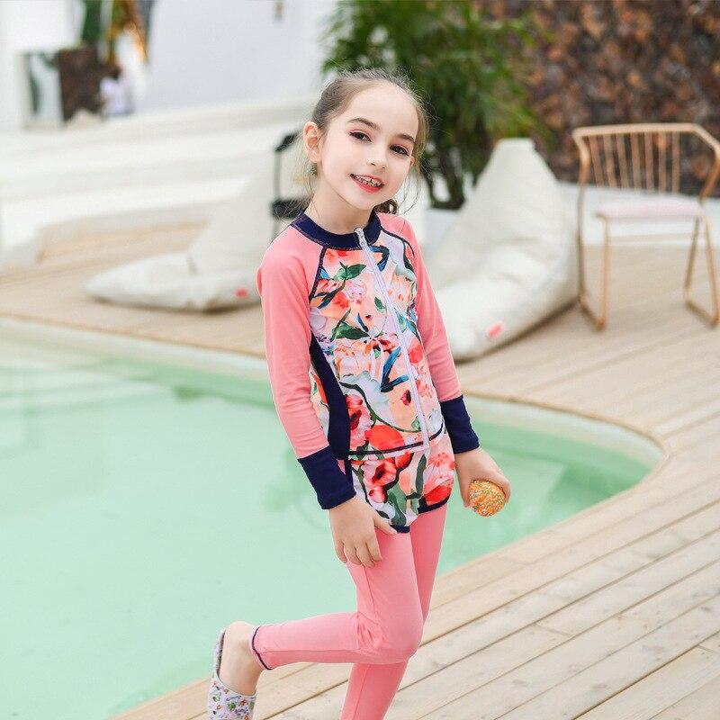 New Style KID'S Swimwear GIRL'S Split Type Long Sleeve Trousers Wetsuit Diving Suit Sun-resistant Quick-Dry Big Boy Swimwear