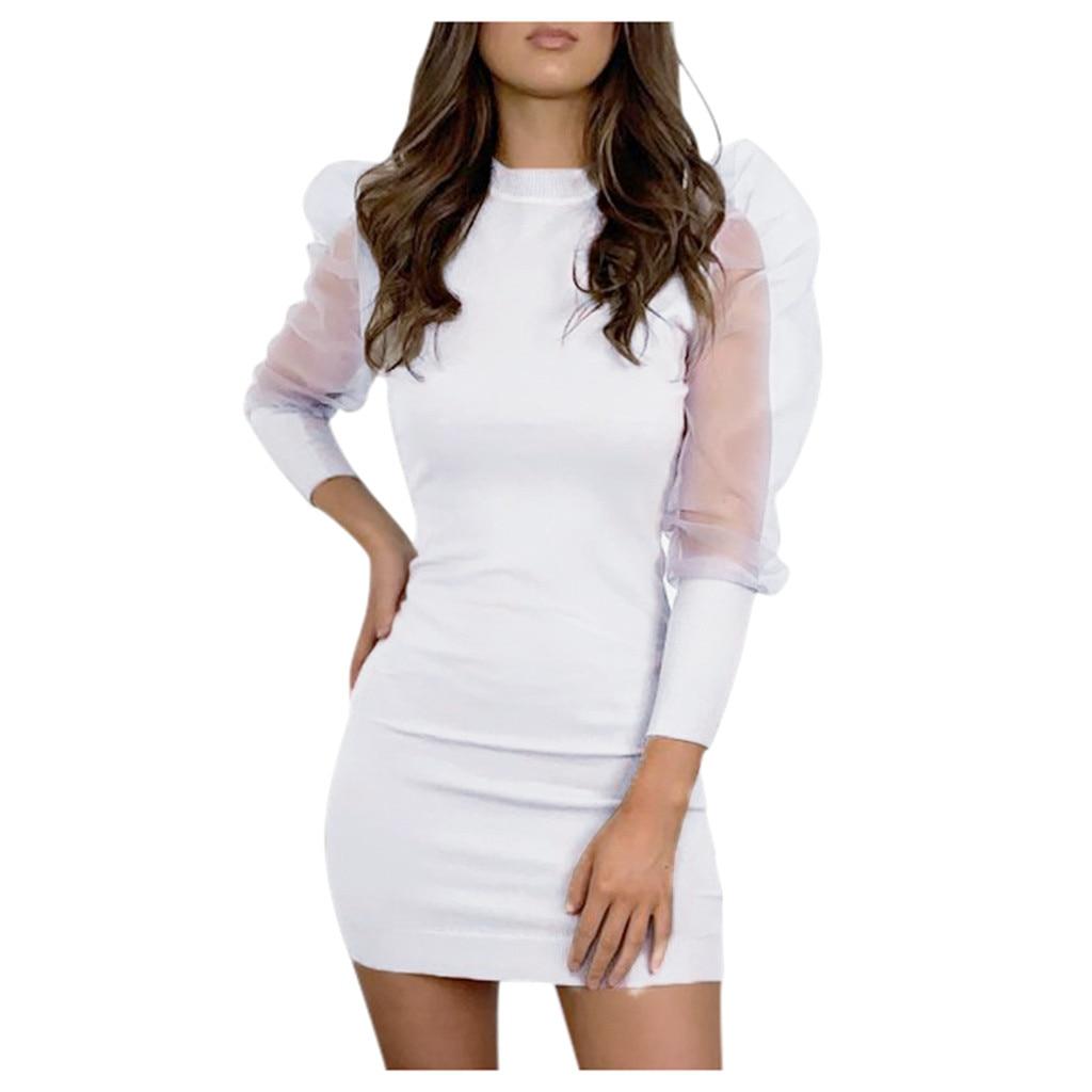 O neck Lantern Sleeve Women Sexy Dress Summer Long Sleeve Perspective Mesh Sleeve Casual Mini Dress