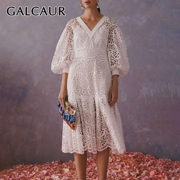 GALCAUR Korean Hollow Out Dresses Woman V Neck Lantern Long Sleeve High Waist Patchwork Lace Midi Dress Female 2020 New Fashion