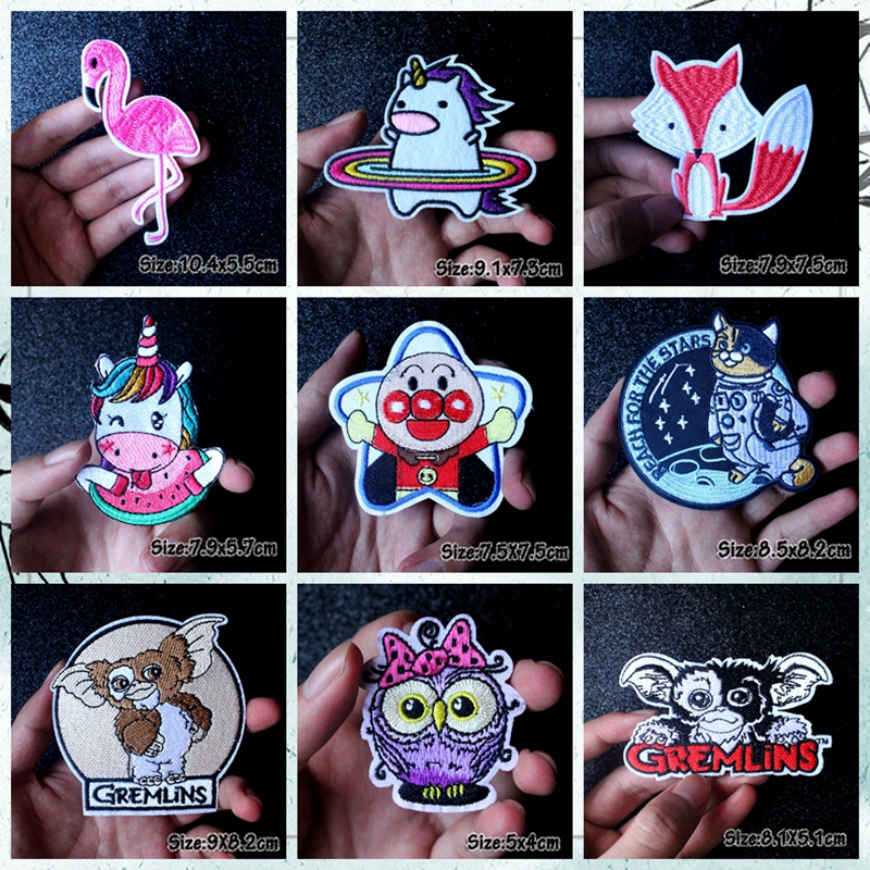 Nicediy Cartoon Lovely Patch Embroidered Patches For Clothing Unicorn Iron On Clothes Kids Stripe Washable