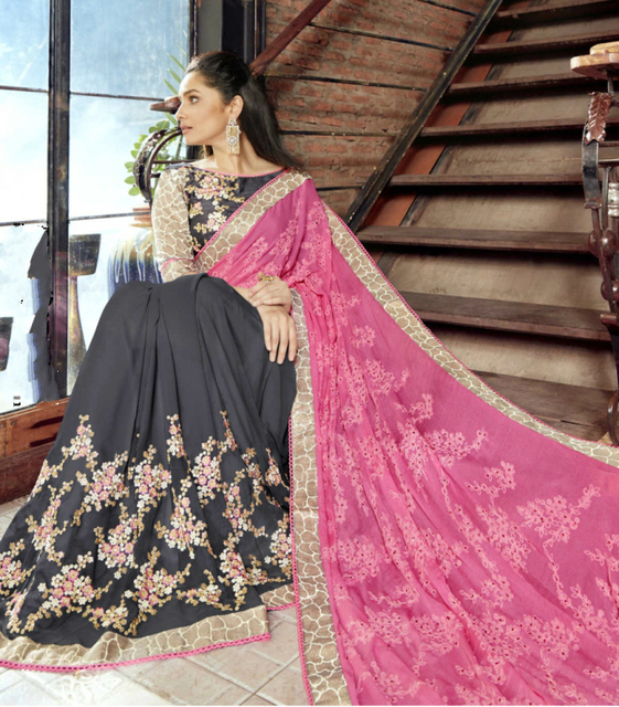Sarees for Women in India Indian Sari Traditional Costume Embroidery Chiffon Saari