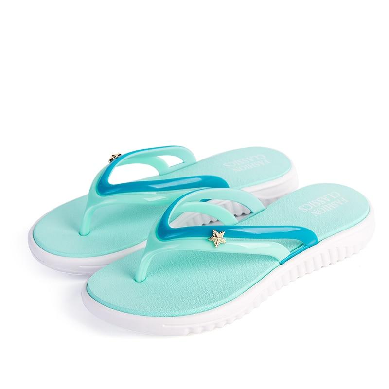 Womens Summer Slip-on Shoes Anti-slip Hard-wearing Fashion Leisure Slippers Beach Swimming Walking Indoor T-tied Flip Flops 1