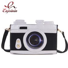 Brown & Black Retro Camera Styling Design Women Pu Leather Purses and Handbags Crossbody Bag Shoulder Bag Casual Clutch Bag