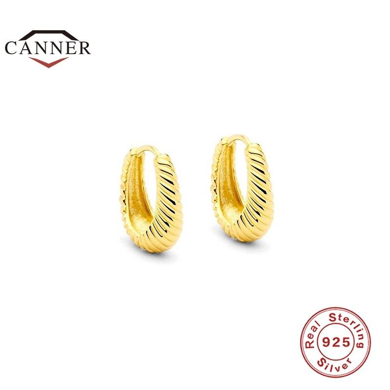 CANNER-Pendientes de aro de plata de ley 925 para mujer, aretes de cuerda de círculo grande Retro para mujer, Piercing chapado en oro de 18K, joyería