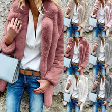 Faux Fur Coat Women 2019 Autumn Winter Warm Soft Fur Fluffy Coats Female Plush Pocket Jacket Casual Streetwear Solid Overcoat(China)