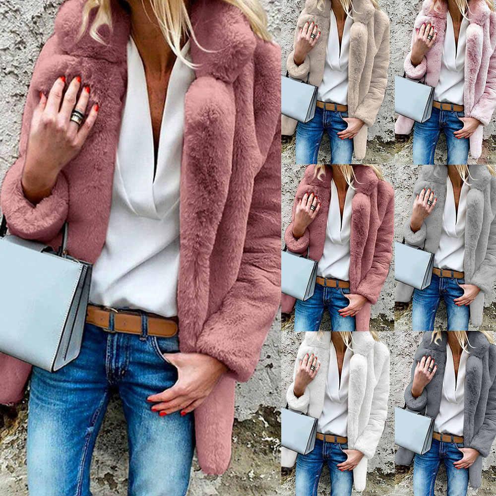 Płaszcz ze sztucznego futra damskie 2019 jesienne zimowe ciepłe miękkie futro puszyste płaszcze kobieta pluszowa kurtka z kieszeniami casualowe w stylu streetwear solidny płaszcz