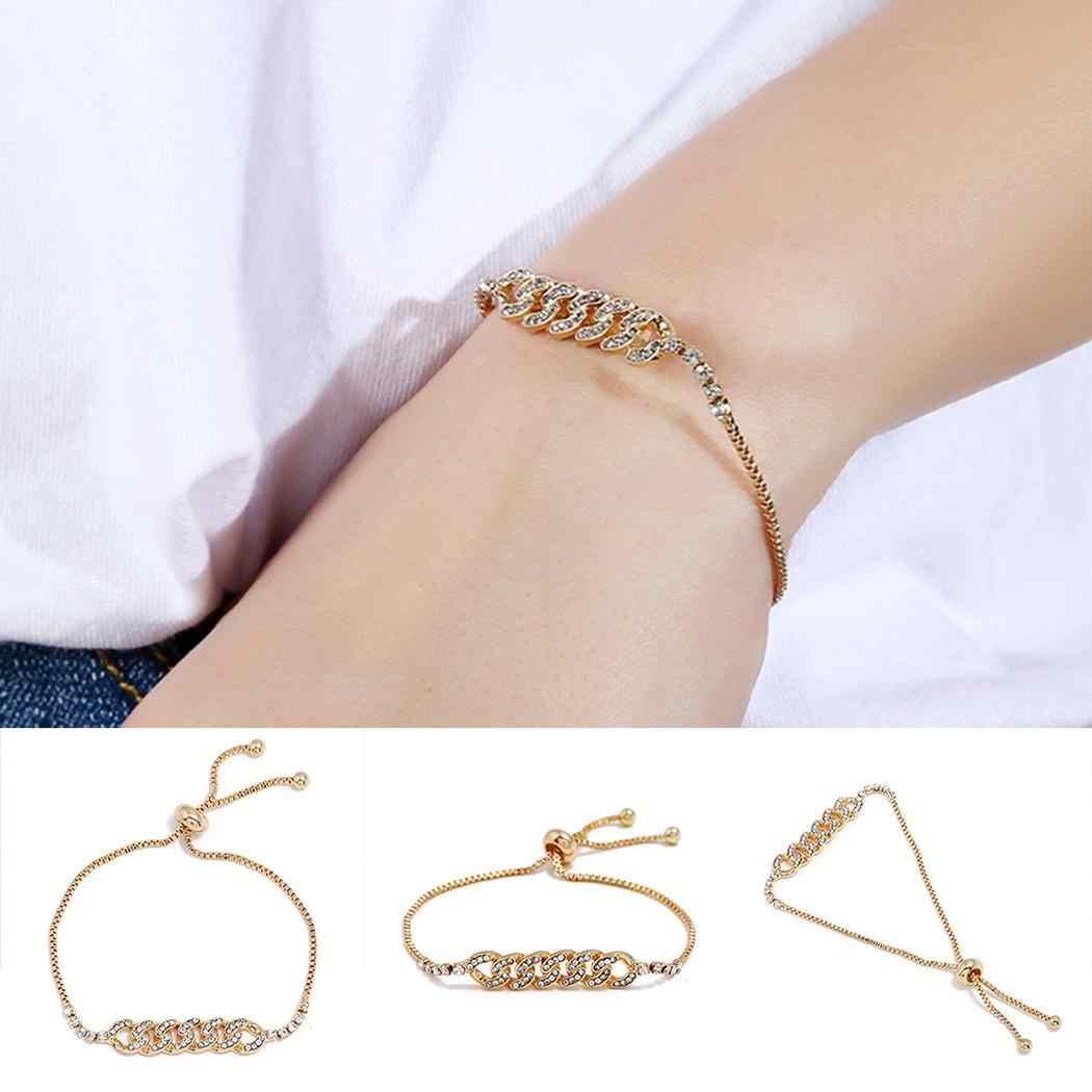 Mujeres Casual hueco geométrico Diamante de imitación Push ajustable Cierre trasero pulsera 3,2 cm/1,3 pulgadas oro