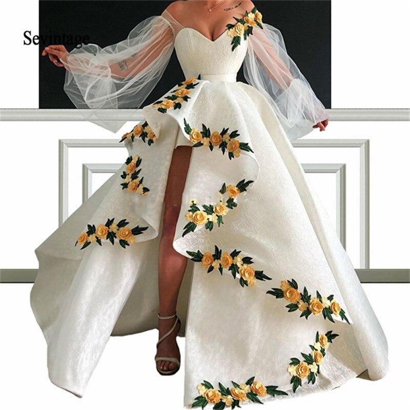 Sevintage Asymmetrical Saudi Arabic Flowers Lace Prom Dresses Off Shoulder Long Sleeves Dubai Evening Gowns Abendkleider