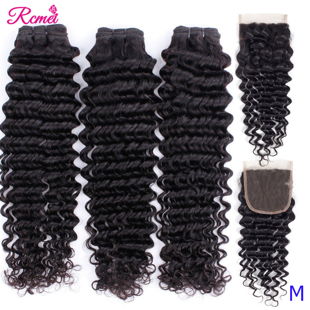 Deep Wave Bundles With Closure 4x4 Brazilian Hair Weave Bundle With Lace Closure Mid Ratio Remy Human Hair 3 Bundle With Closure