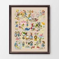 Fishxx 14CT Counted Chinese Cross Stitch Kits set Embroidery Needlework Fairy tale world princess cartoon