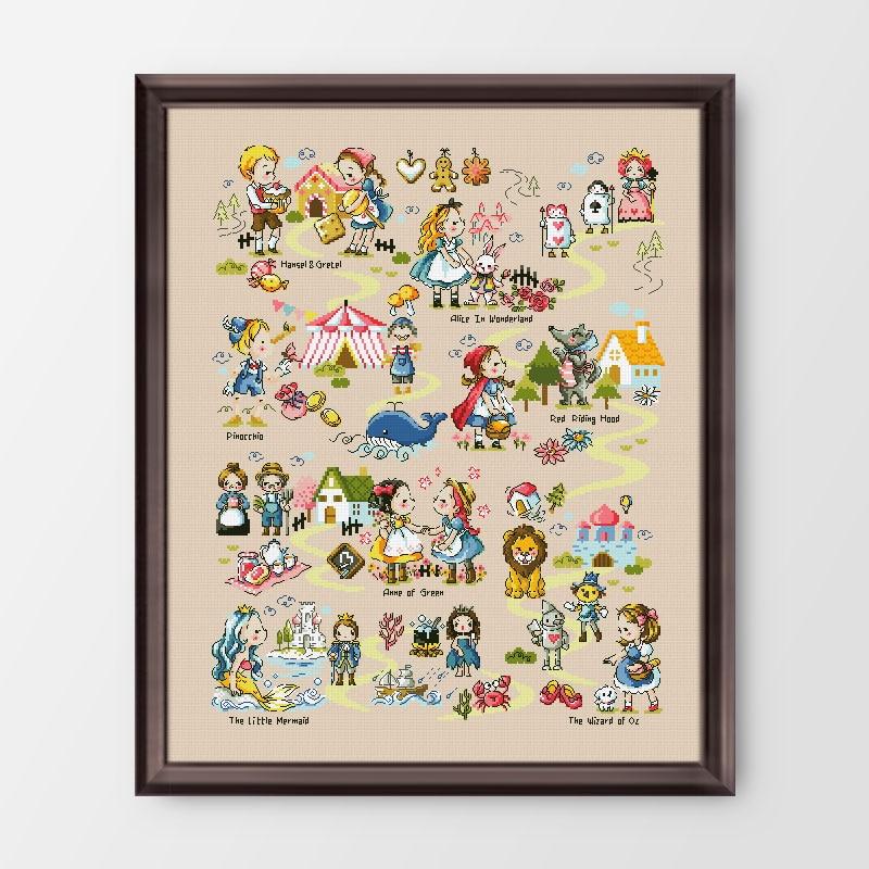 Fishxx 14CT compté chinois point de croix Kits ensemble broderie couture conte de fées monde princesse dessin animé
