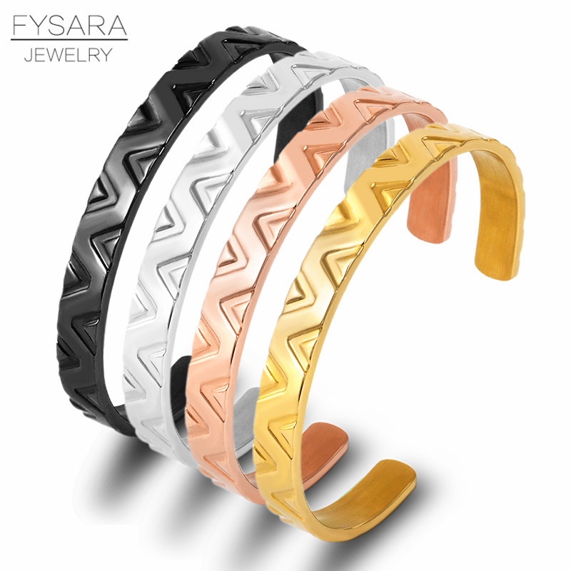 FYSARA Classic V Design Cuff Bracelets For Women Men Black Bangles Stainless Steel Gold Brand Open Bangles Bracelets Wholesale(China)