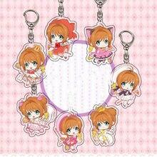 LLavero de Sakura de Anime Adorable, 1 Uds., juguete de modelo de figura, acrílico transparente, llavero con anilla para llaves, juguetes para niñas, regalo
