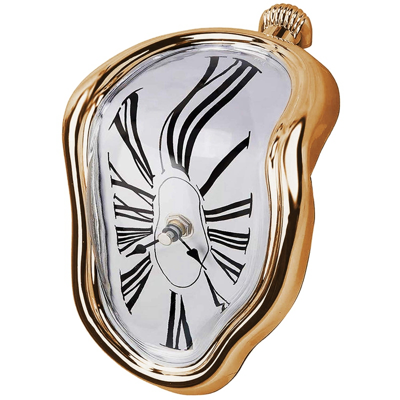 Melting Clock, Block-Type Twisted Clock,Melted Clock for Decorative Home Office Shelf Desk Table Funny Creative Gift, Gold