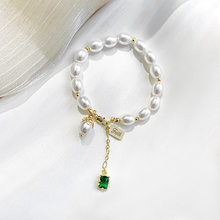 Natural Freshwater Pearl Bracelet for Women Emerald Stone Pendant Bracelet Luxury Retro Palace Style Simple Temperament Jewelry(China)