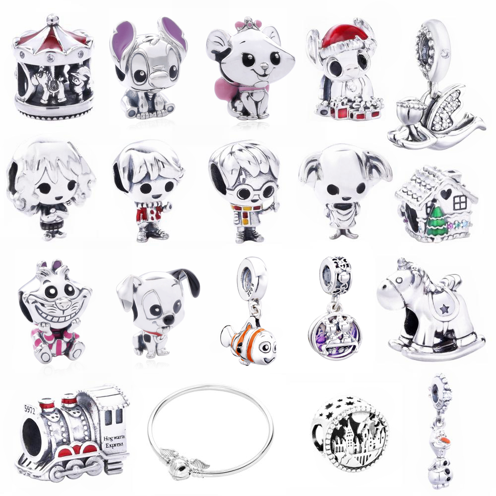 Moonmory 2019 Christmas 925 Sterling Silver Snowman Enamel Charms Fits For Snake Bracelet Magic Harry Charms DIY Jewelry Marking